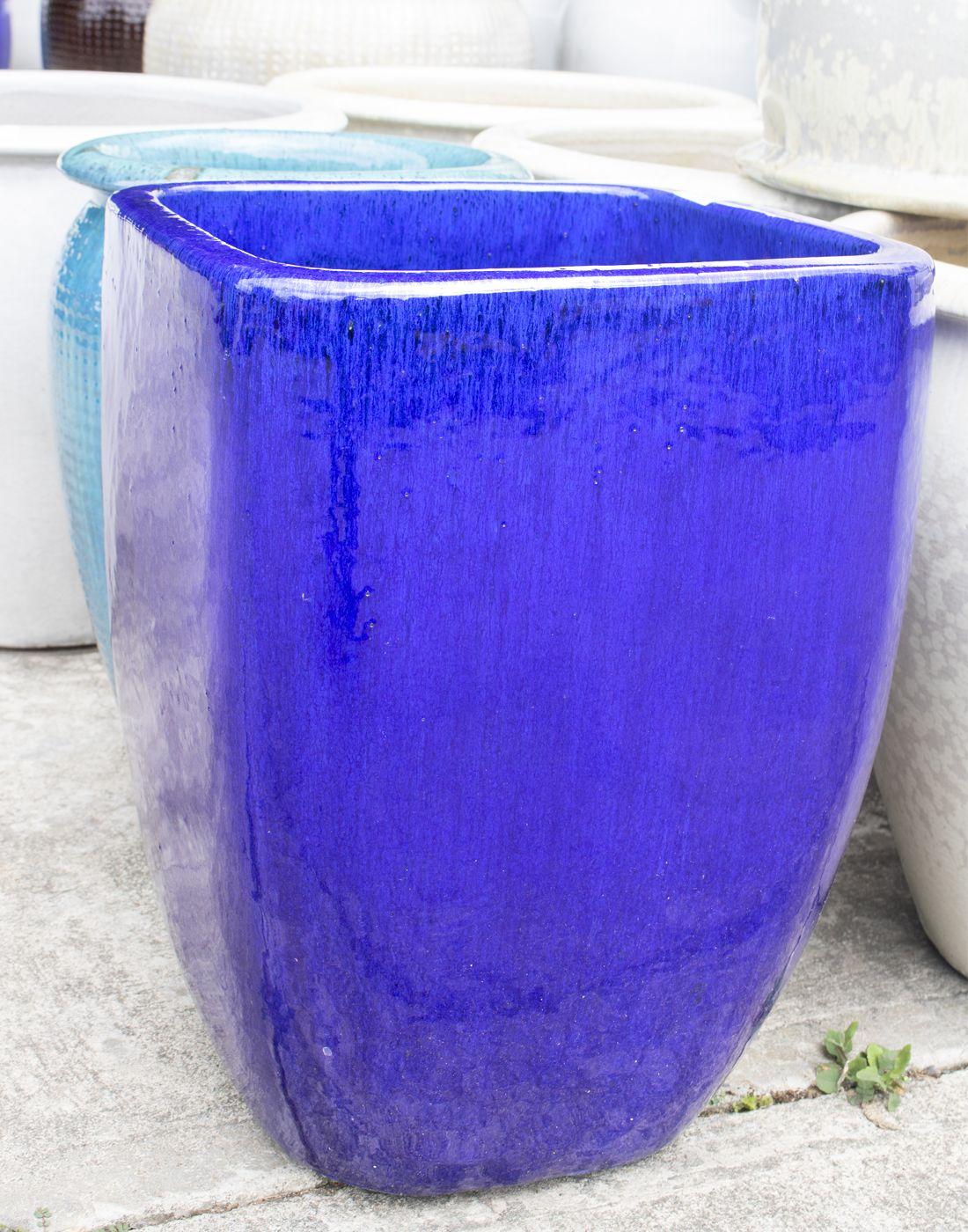 Cobalt Blue Square Ceramic Large Planters Google Search Large Planters Blue Square Planters