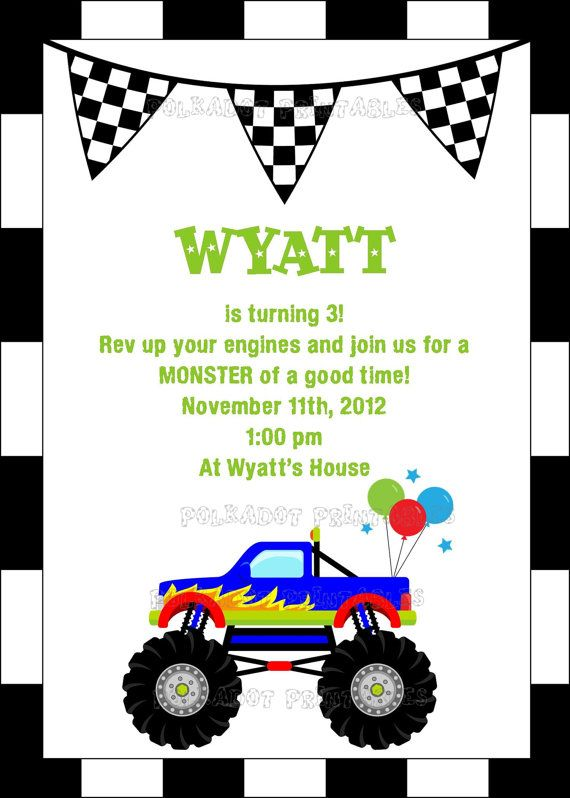 monster truck party invitation x printable digital file, party invitations