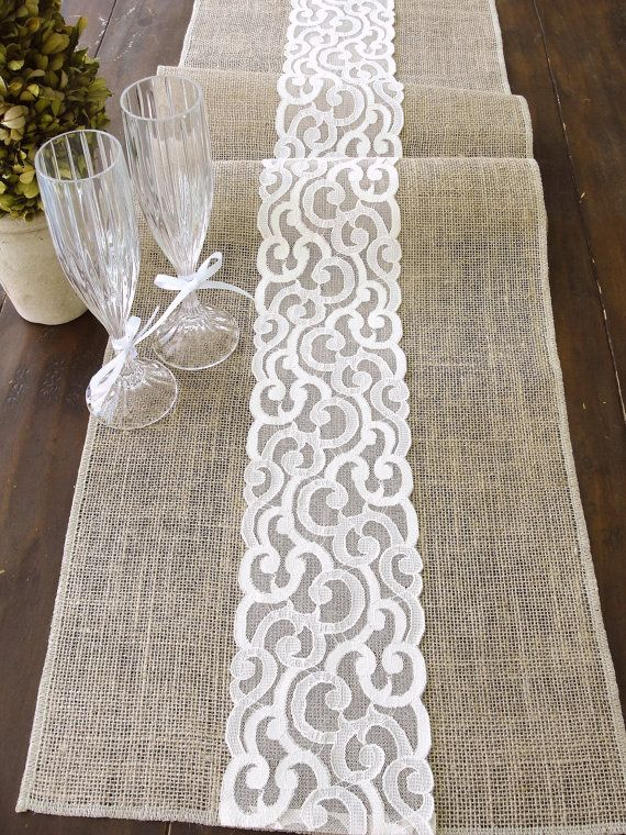 burlap table runner burlap and lace rustic table runner. Black Bedroom Furniture Sets. Home Design Ideas