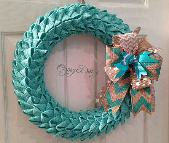 Photo of 18 Petal Bubble Burlap Wreath Tiffany Blue by OOPSYDAISYDESIGNS