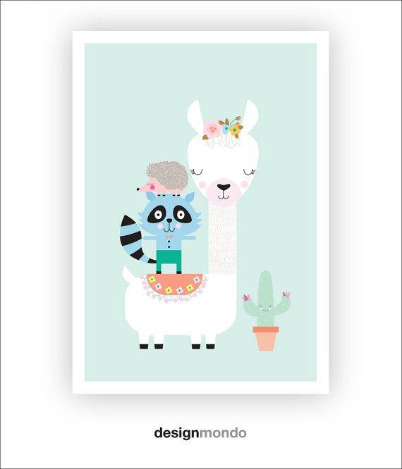 Alpaca Prints Llama Wall Art Printable Nursery wall von DesignMondo
