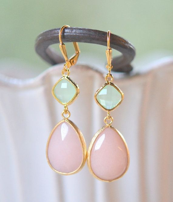Soft Peach and Mint Bridesmaid Earrings in Gold. by RusticGem