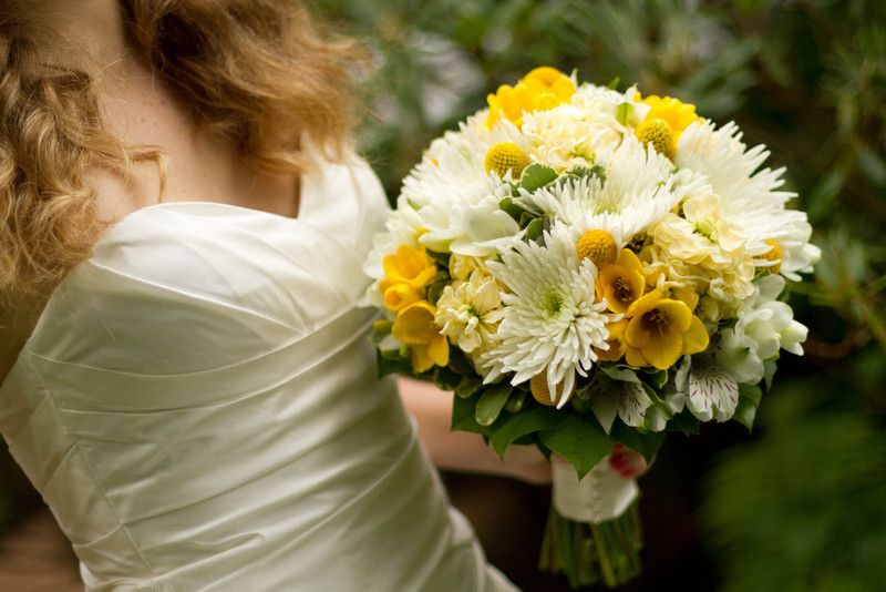 White And Yellow Wedding Bouquet With Chrysanthemums Freesia And