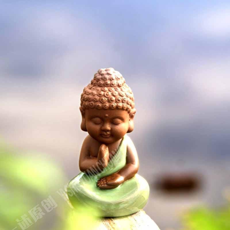 Cute Little Buddha Ceramic Figures Feng Shui Zen Ornaments 6 Positions Namaste Heart Space Buddha Figures Small Buddha Statue Baby Buddha