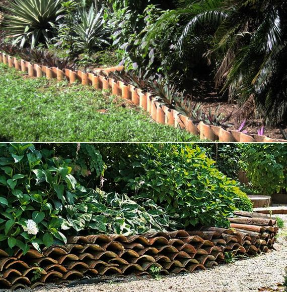 gartengestaltung ideen mit rasenkante aus dachziegeln, Garten ideen