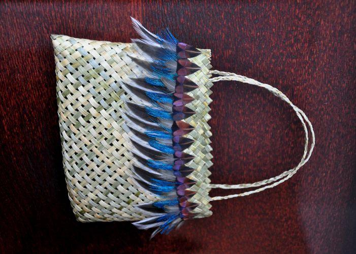 Anna Gedson Kura Gallery Maori Art Design New Zealand Aotearoa Weaving Framed Harakeke Kete Peacock Rooster Feathers