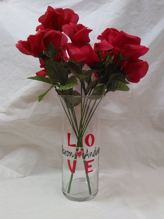 Personalized Vase Engagement Gift Gift For Girlfriend Gift For