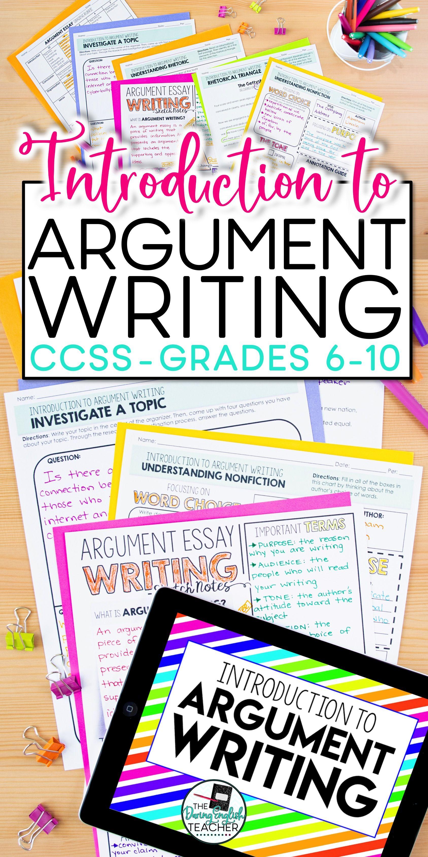 Argument Writing Unit For Secondary Ela