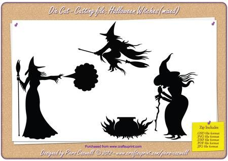 Halloween Series Witches x3 Die Cut SVG GSD PDF on Craftsuprint designed by Piers Caswell - A series of 3 naughty Halloween Witches in varying cartoon styles. Each witch includes their own separate items/props, brooms, cauldrons, spell and a hat