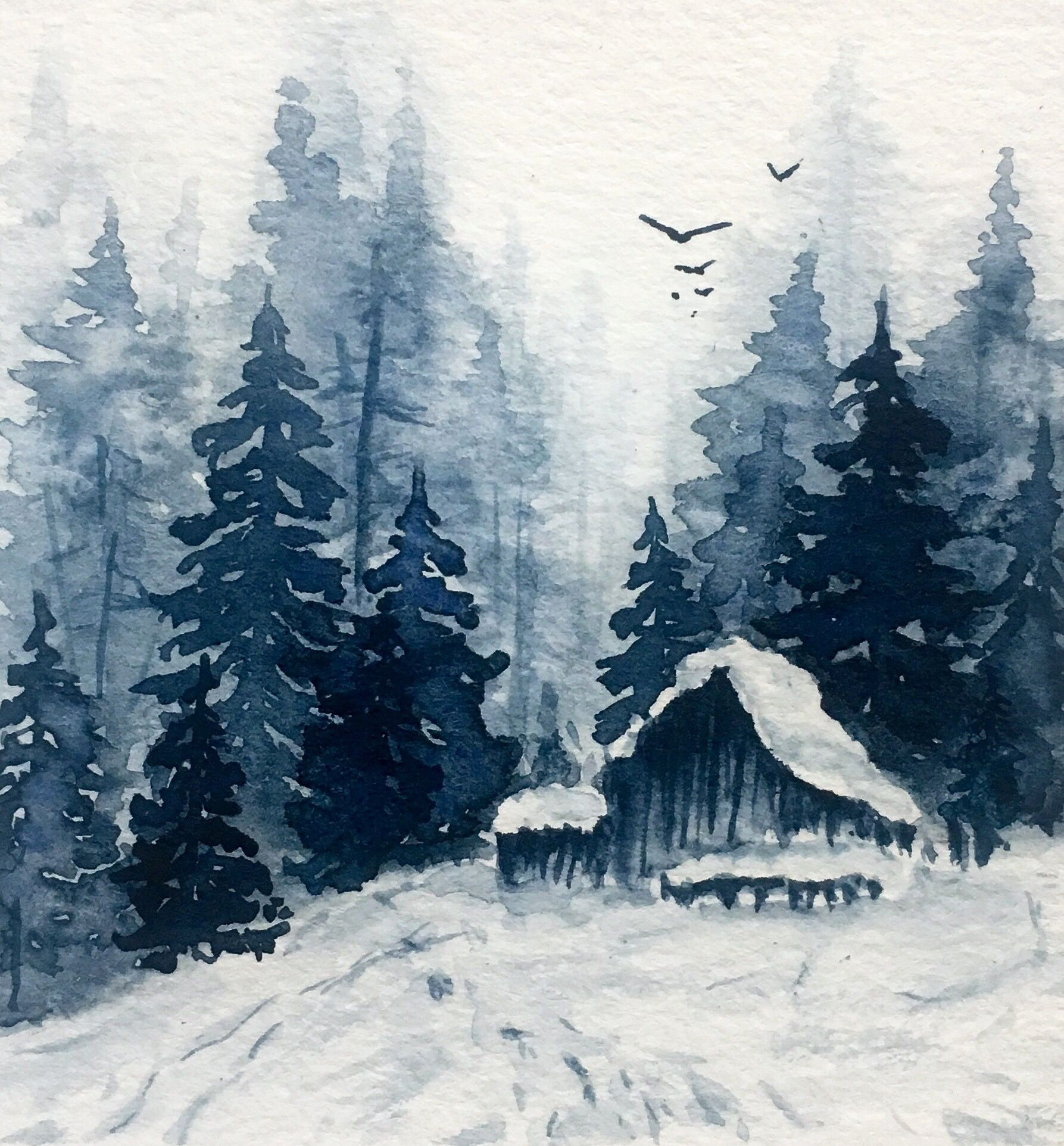 Watercolor Snow Landscape Woods Winter Forest Paysage