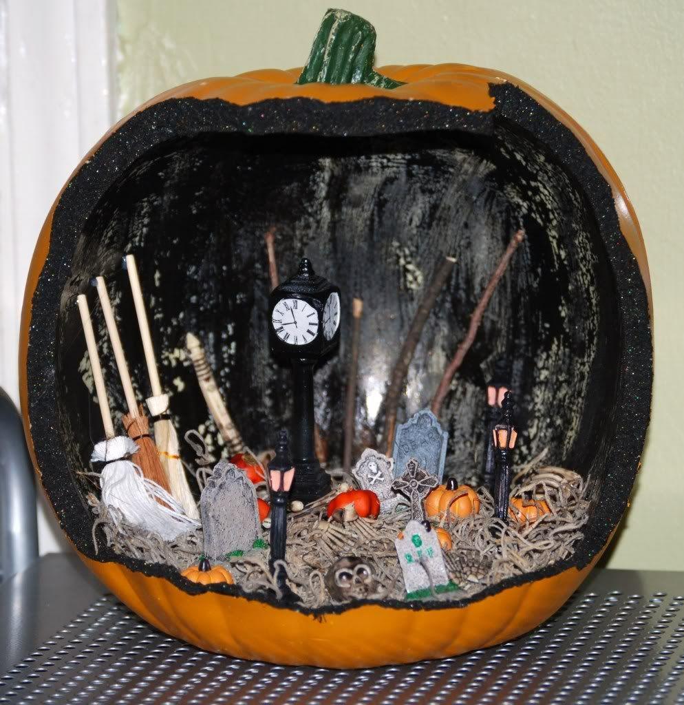 halloween scene pumpkin fake pumpkin cut in half black spray paint moss - Fake Halloween Pumpkins