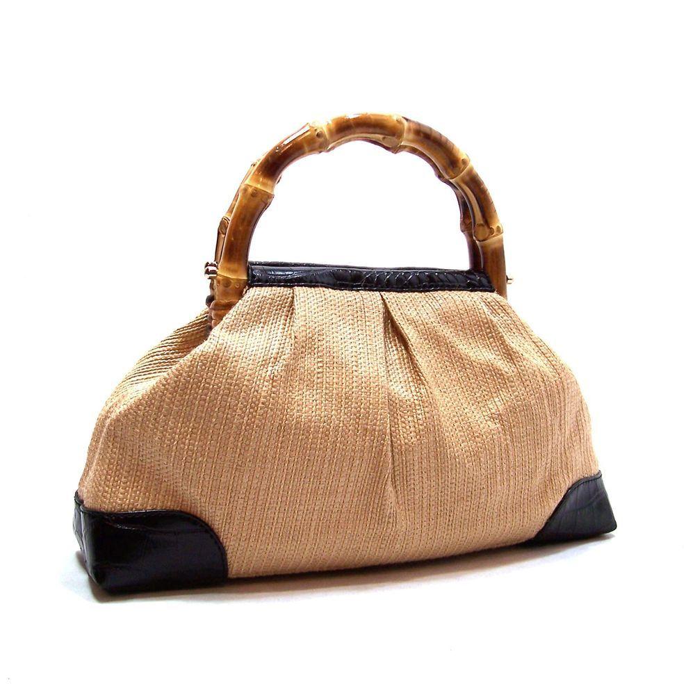 Ann Taylor Loft Straw Handbag Bamboo Handles Black Leather Croco Trim Purse Anntaylor Satchel