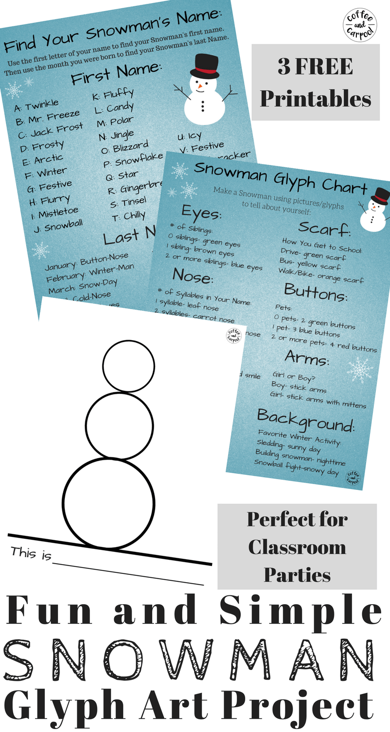 Fun and Simple Snowman Project with Free Printables | Pinterest ...