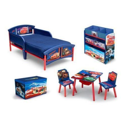 Toddler Bed Disney Cars 4 Piece Bedroom Furniture Boys Blue Toy Box Kids New  sc 1 st  Pinterest & Disney/Pixar Cars Room in Box Toddler Bed Table Chair Set Multi ... islam-shia.org