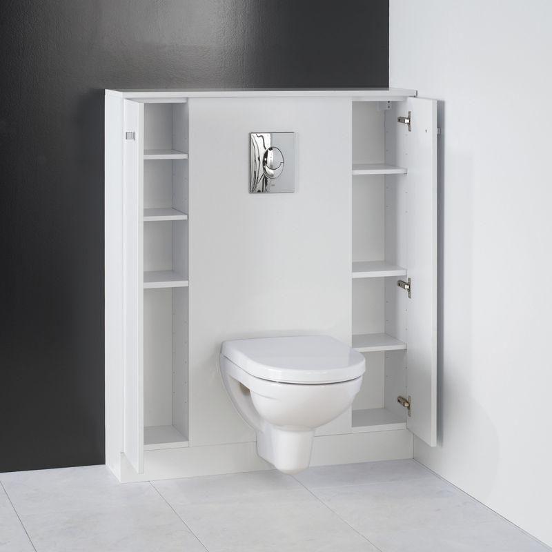 habillage wc suspendu penser aux niches de rangement pour la cloison