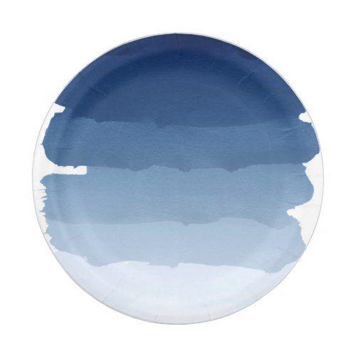 Navy blue stripe watercolor ombre stripe wedding 2 paper plate  sc 1 st  Pinterest & Navy blue stripe watercolor ombre stripe wedding 2 paper plate ...