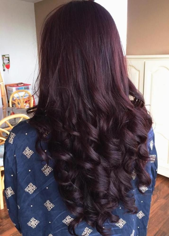 Curly Dark Hair With Red Highlights