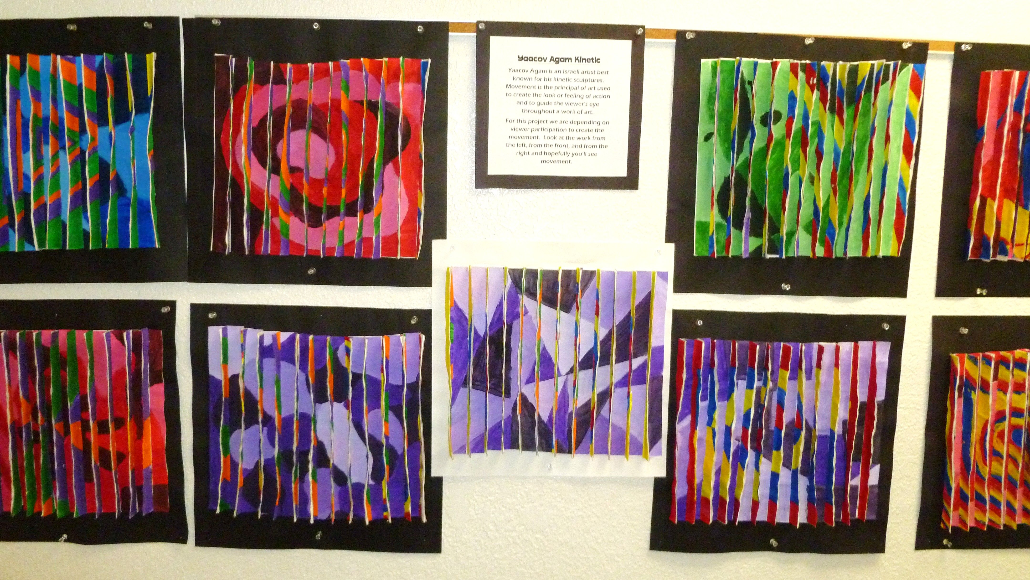8th Grade Color Theory Movement Inspired By Yaacov Agam Tagboard Tempera Paint Primary Secondary School Art Activities Elementary Art Art Lessons