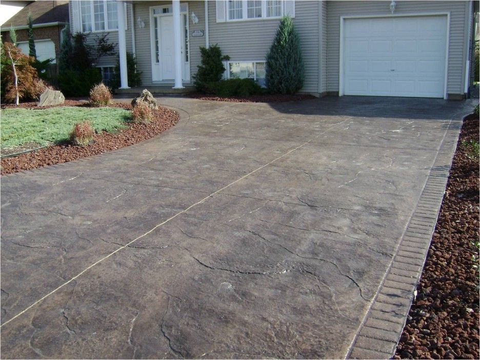 Exterior Appealing Stamped Concrete Driveway Design