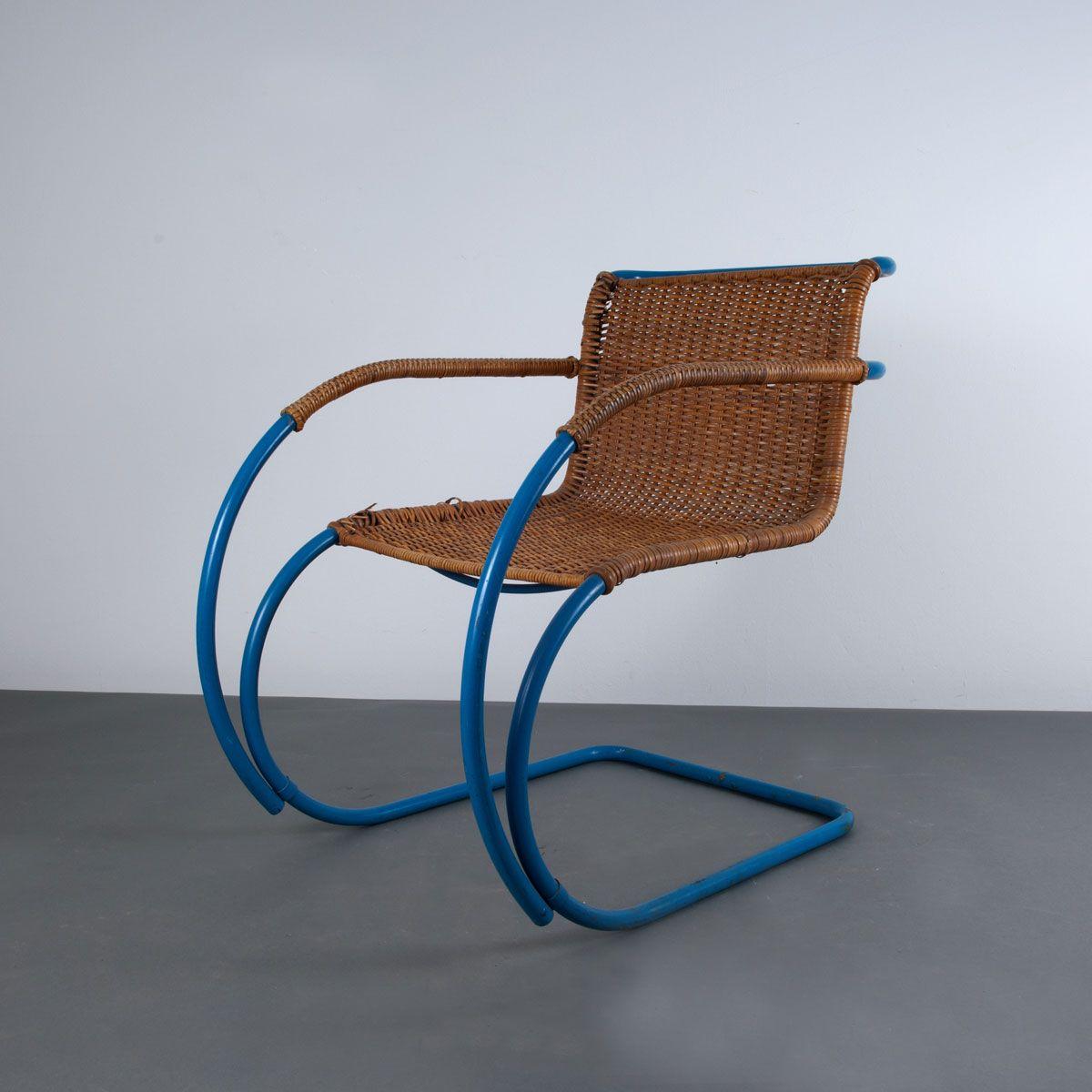 Ludwig Mies van der Rohe; Enameled Tubular Steel and Wicker 'Weissenhof - MR 20' Armchair for Berliner Metallgewerbe Joseph Müller, c1927.