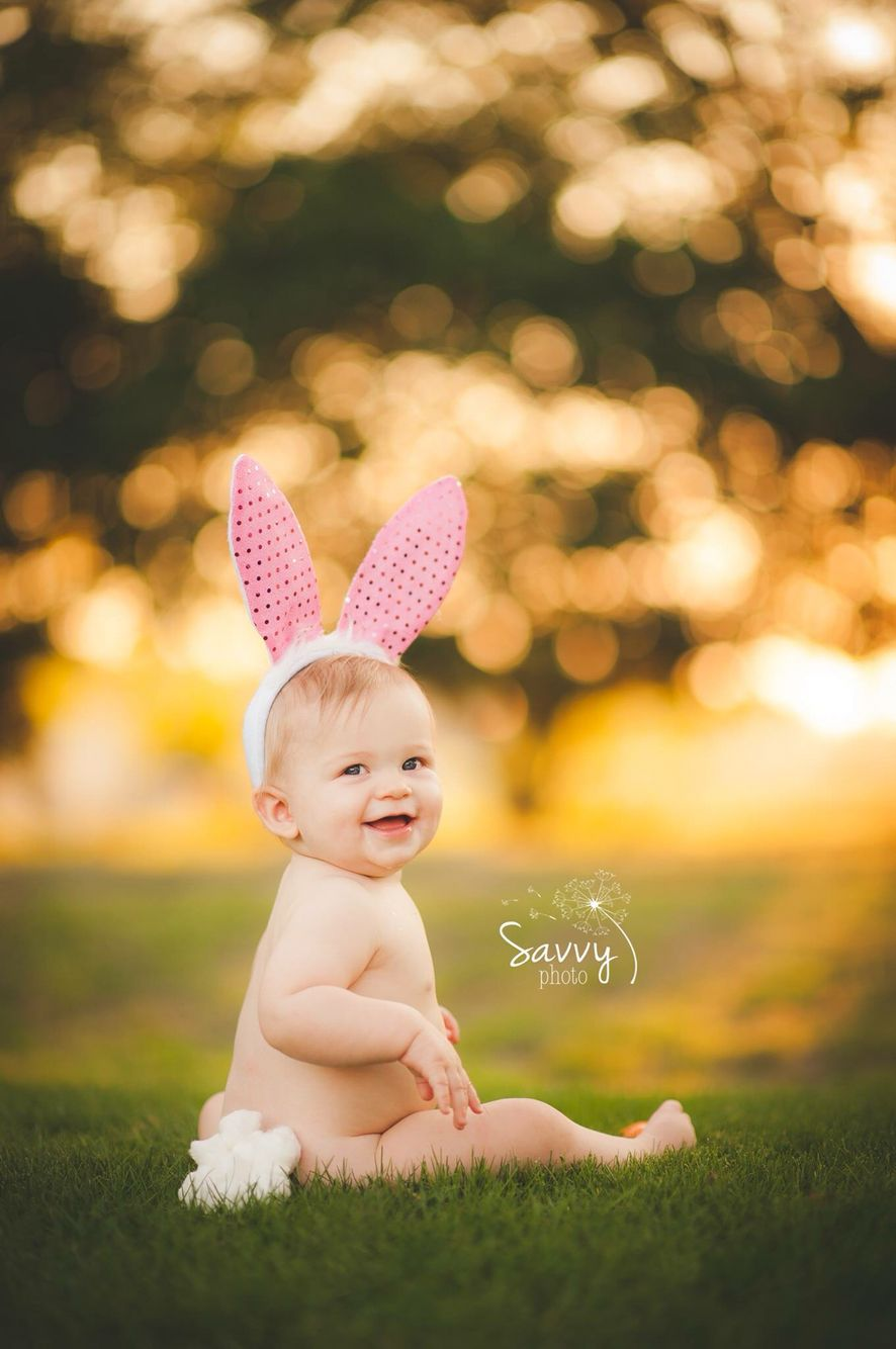9 Month Photoshoot Baby Boy Cute Easter Bunny Holiday First Easter