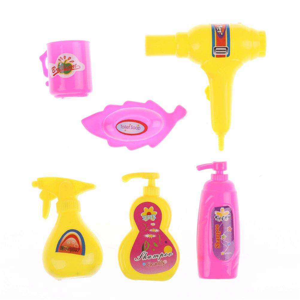 Cheap Furniture Toys Buy Directly From China Suppliers 1set Diy Miniature Dollhouse Mini Doll Bathroom Product Accessory For Barbie Doll House Hair Dryer Bath With Images