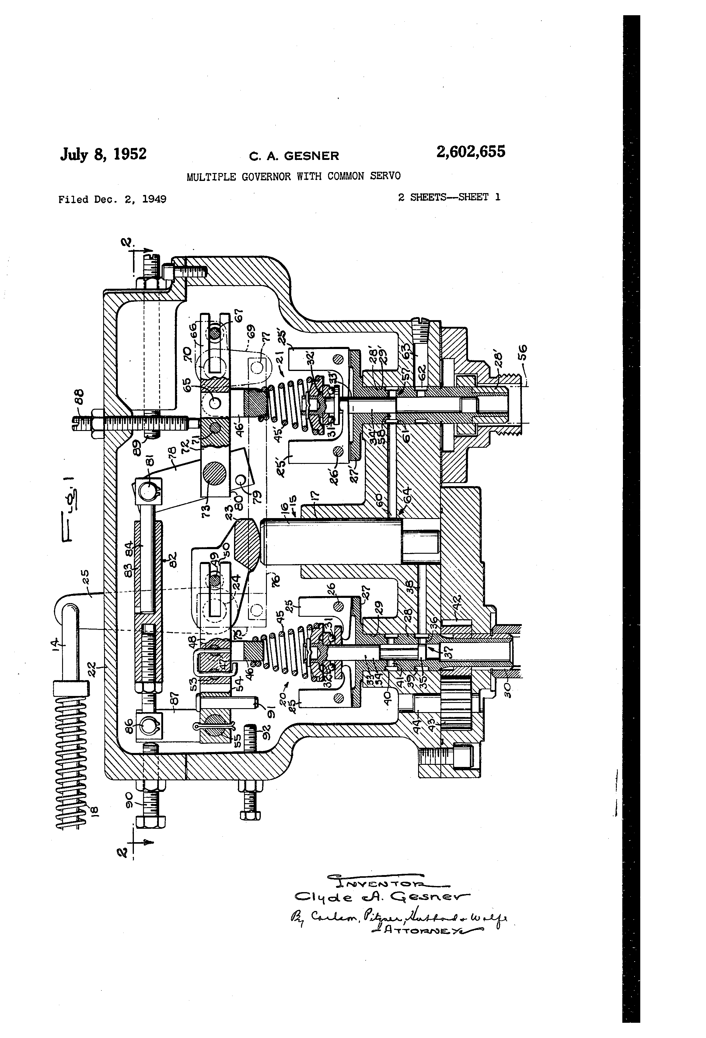 Patent US2602655 - Multiple governor with common servo - Google Patents