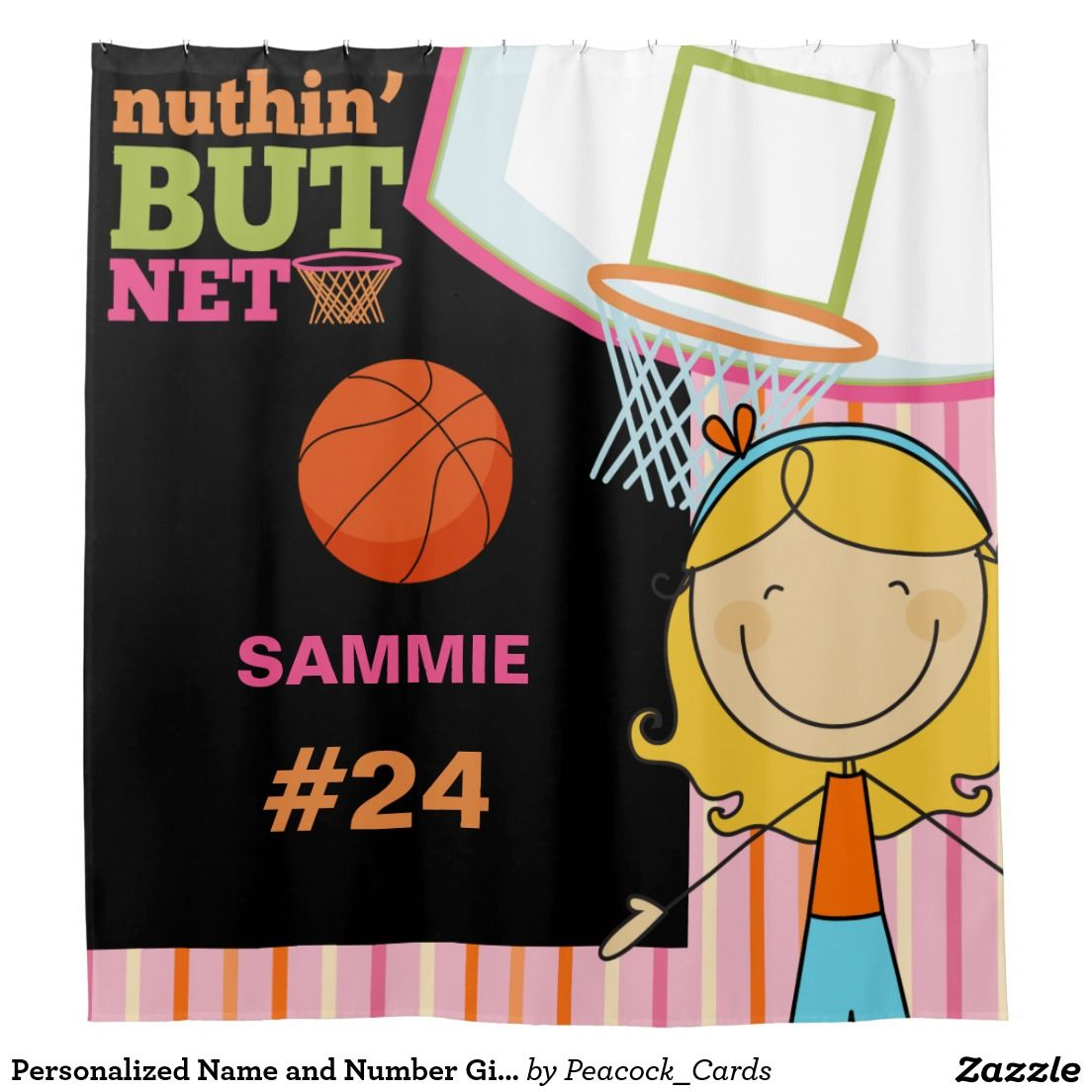 Personalized Name And Number Girls Basketball Shower Curtain