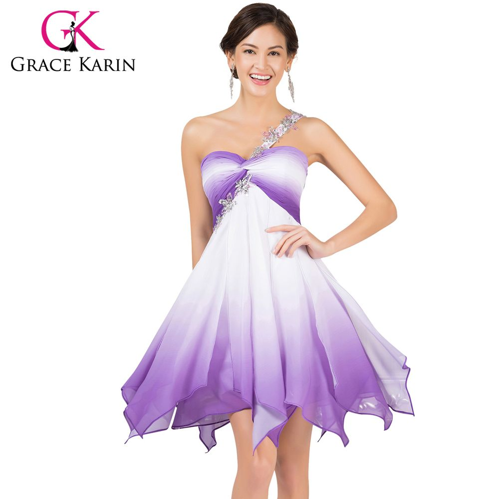 Click to buy ucuc grace karin one shoulder chiffon short prom dresses