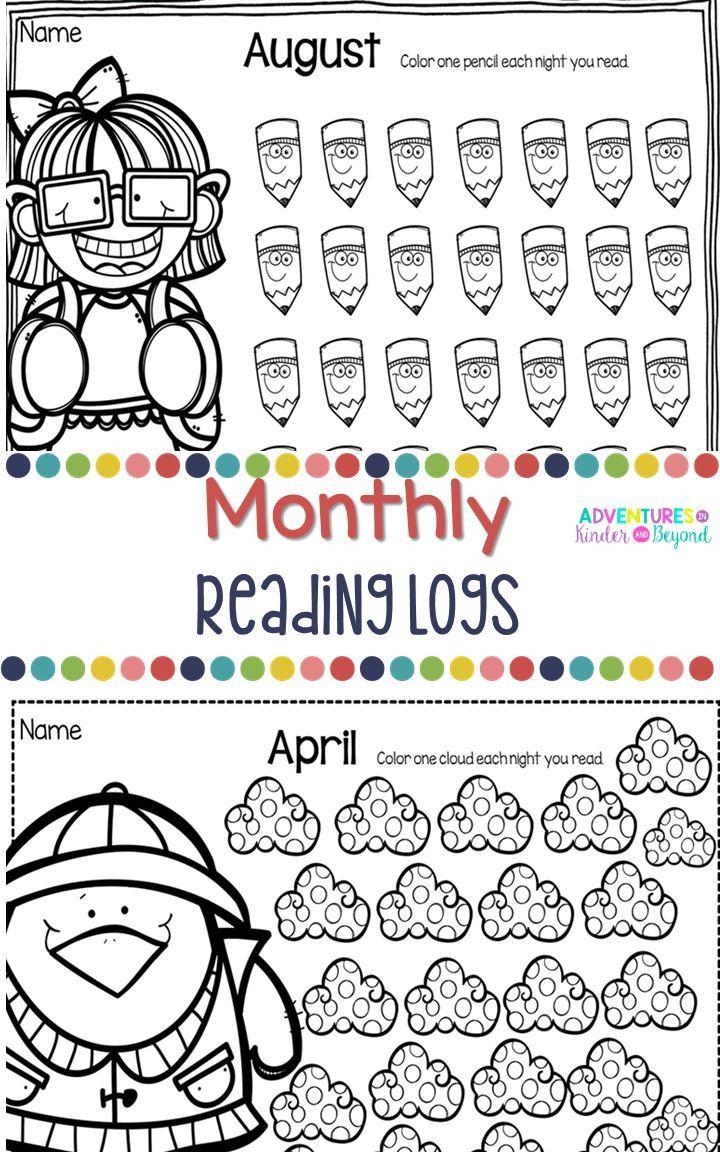 Monthly Reading Logs Kindergarten reading log, Reading