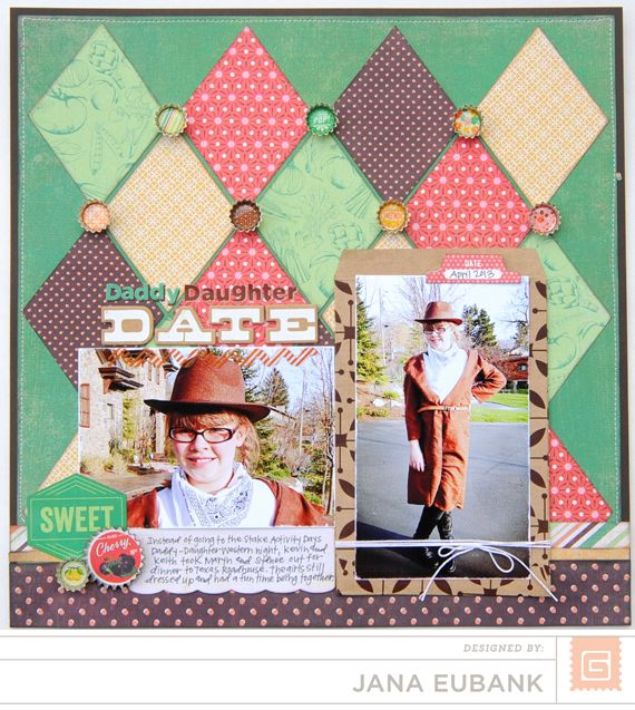 Daddy Daughter Date by Jana Eubank - Scrapbook.com like the use of 'quilted' diamonds for background. good use of 6x6 pads ;)