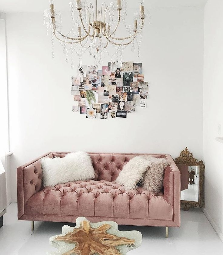 Blush Velvet Tufted Couch Sofa, Gold Chandelier, Photo