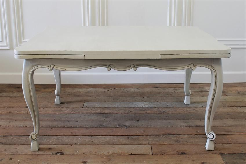 Vintage French Country Dining Table With Pull Out Leaves From Full