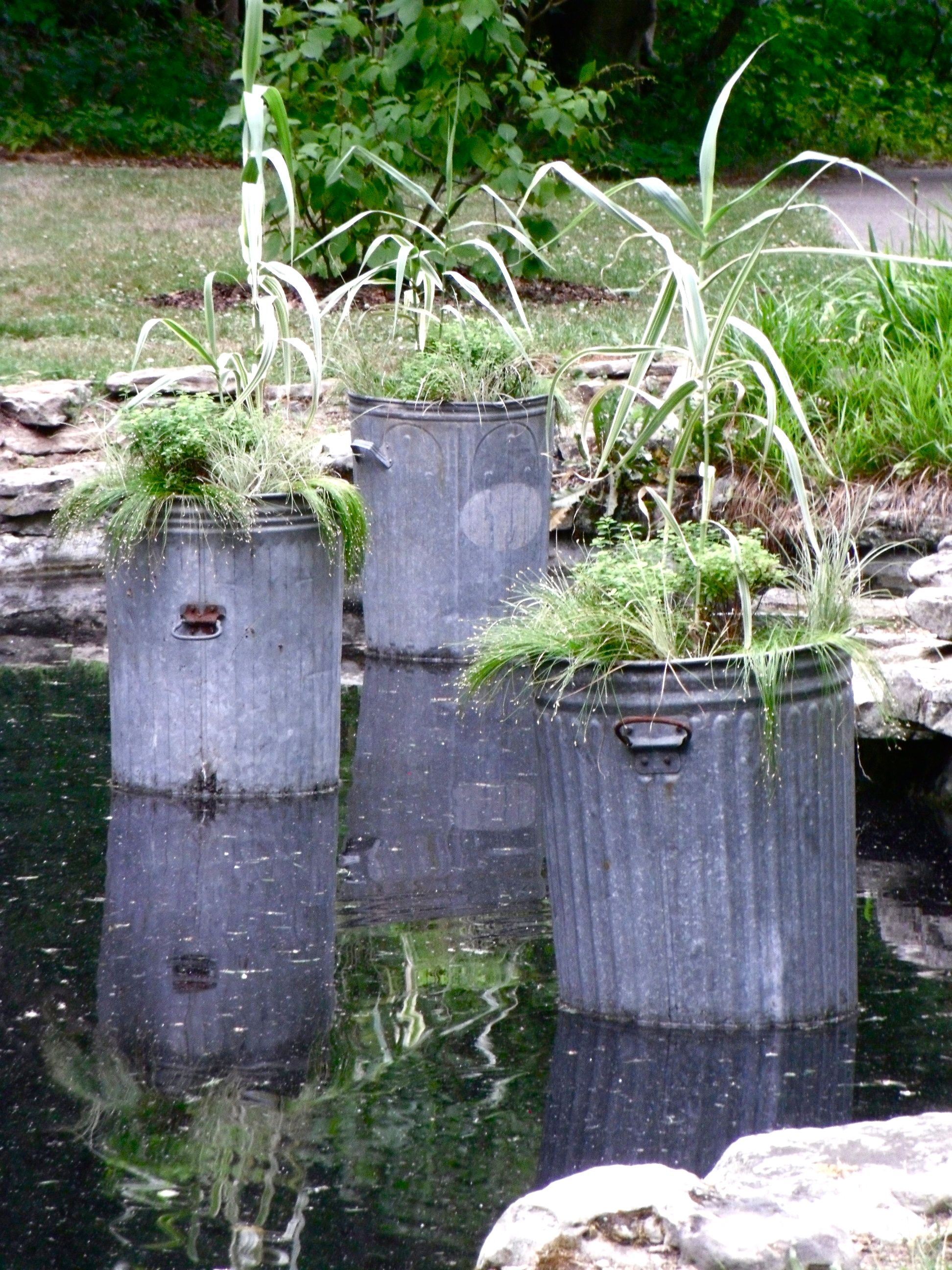 Old metal garbage cans for container gardening creative for Container gardening ideas