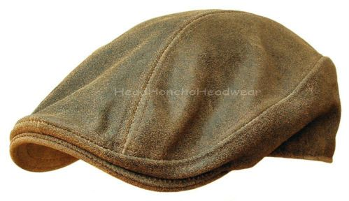 Distressed Leather IVY CAP Mens Brown Gatsby Newsboy HAT Golf Driving Flat   fd39aaf763d