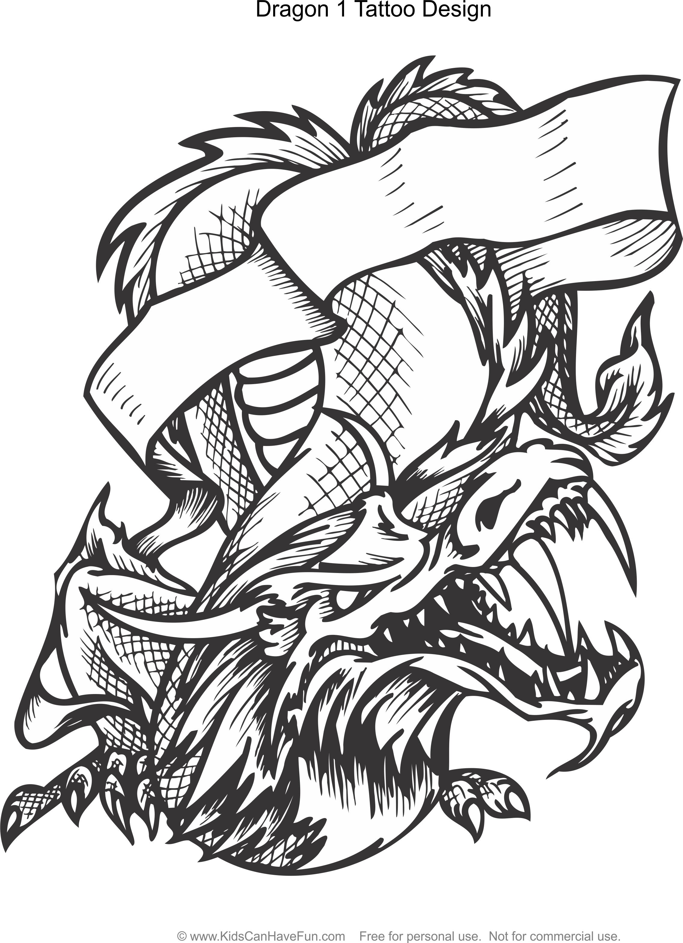 Tattoo designs coloring book - Dragon 1 Tattoo Design Coloring Page Http Www Kidscanhavefun Com