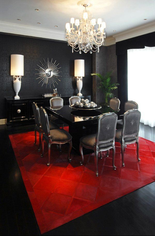 Black Red And Silver Dining Room Black Dining Room Dining Room Colors Eclectic Dining Room