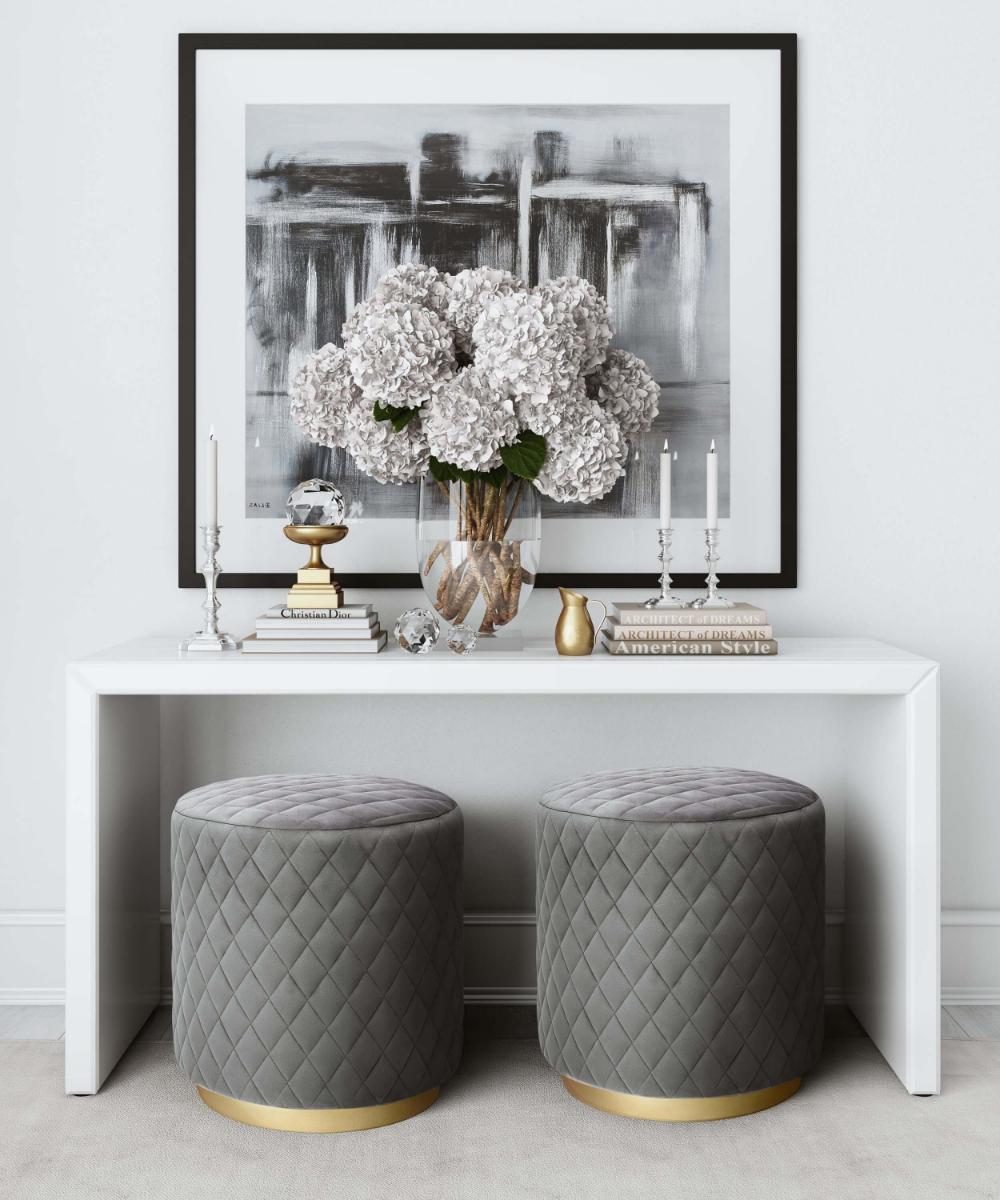 Photo of Abir Grey Velvet Ottoman – TOV Furniture