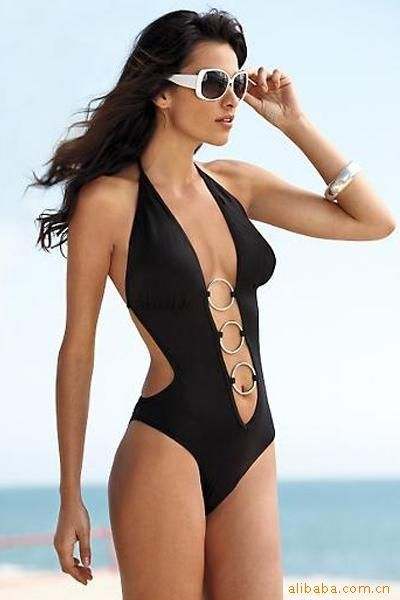 f52c17188b4c Free shipping sexy bikini one piece swimsuits Black swimming dress monokini  swimwear,bathing suits for women-in One Pieces from Apparel & Accessories  on ...