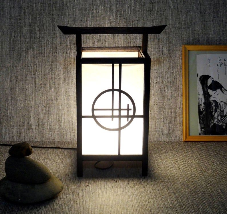 Japanese Lamp From Rice Paper Japanese Table Lamp Shoji Lamp Etsy In 2020 Japanese Lamps Japanese Paper Lanterns Japanese Table