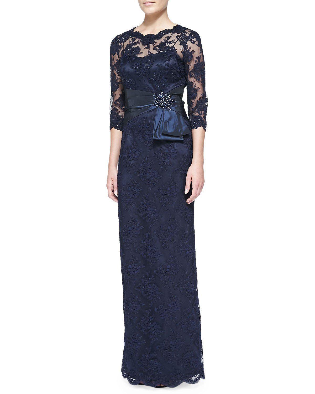 3 4 sleeve lace wedding dress  Rickie Freeman for Teri Jon Sleeve Lace Overlay Gown Navy