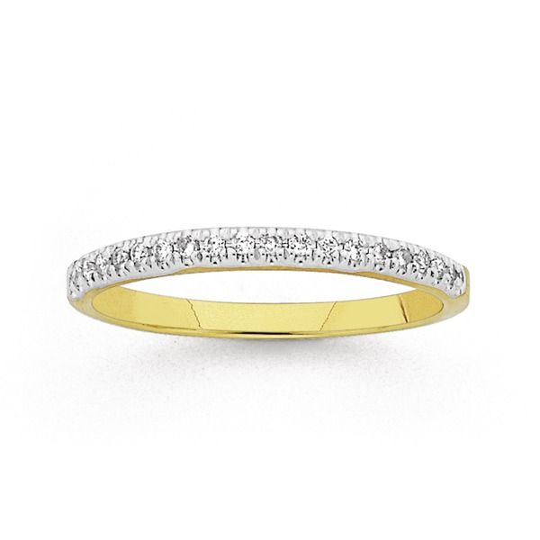 9ct Gold Diamond Claw Set Band