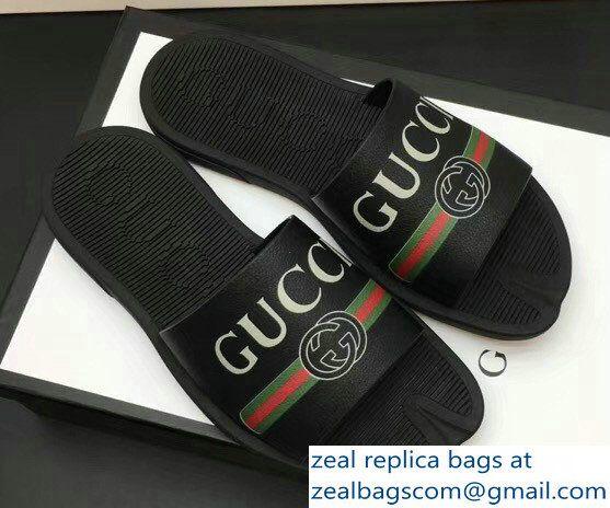 3c58b558451 Gucci Men  s Slide Sandals Vintage Logo Black 02 2018 Mens Slide Sandals