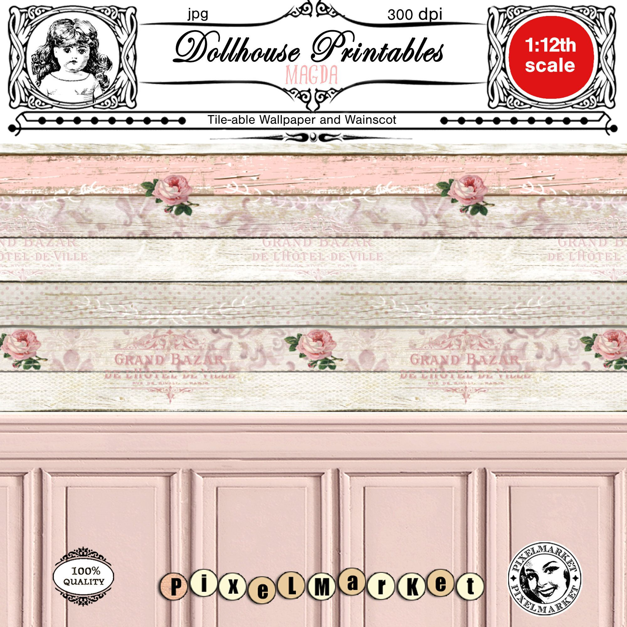 Dollhouse Miniature Wallpaper Scale One Inch Good Fortune