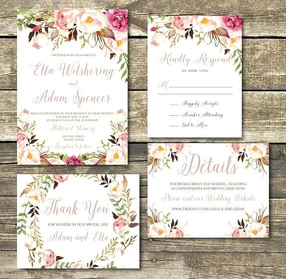Lovely Rustic Wedding Invitations Etsy And Rose Gold Printable Invitation Blush Fl Watercolor Burgundy Pink