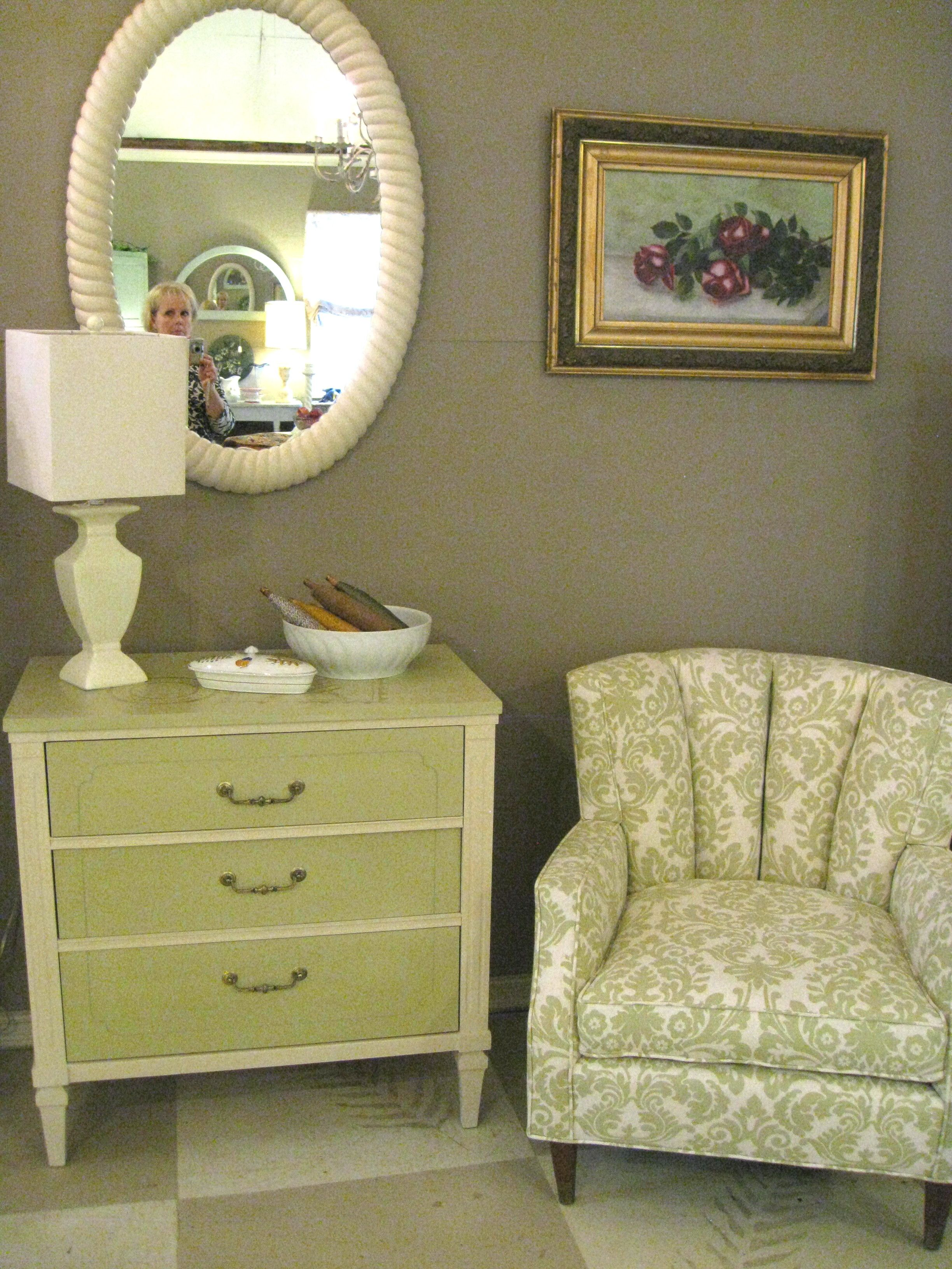 Vintage Chest of Drawers painted in Versailles and Old Ochre Chalk Paint® by Annie Sloan;  Newly upholstered vintage Chair