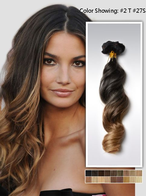 20 Two Colors Ombre Indian Remy Clip In Hair Extension Uwo720 8