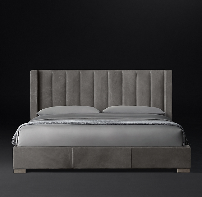 Best Modena Shelter Vertical Channel Leather Platform Bed In 400 x 300