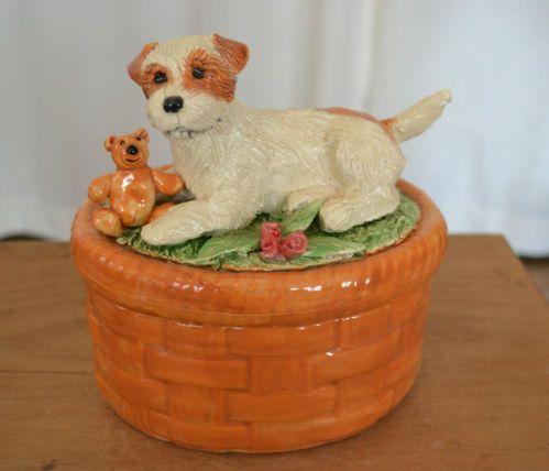 Parson terrier . Handsculpted ceramic basket .LOOK