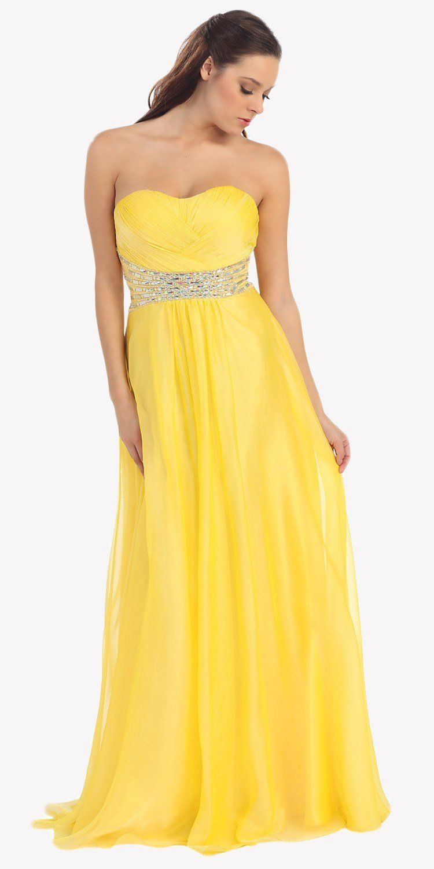 Clearance long yellow prom dress chiffon a line jeweled waist